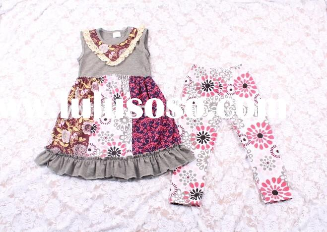 2015Hot Sale Girls Fall Outfit Trendy Kids Plus Size Cotton Outfit Children's Clothing Set S