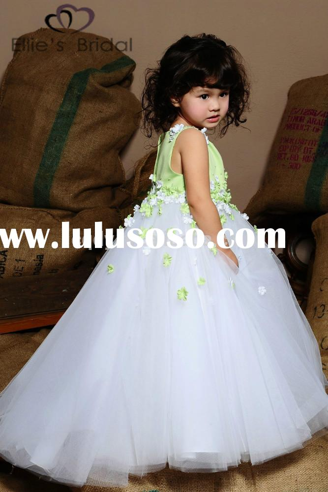 2015 Fashion design girls princess dress,children's wedding dress with applique,beautiful go