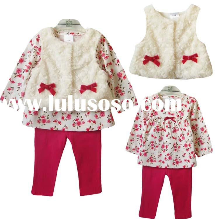 2015 new 3pcs sets newborn clothing baby girl clothes christmas toddler girl clothing suit vest+t-sh