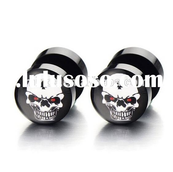 2pcs 10mm Black Screw Stud Earrings with Skull for Men Women, Cheater Fake Ear Plugs Gauges Illusion