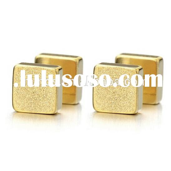 2pcs 6mm Gold Cube Barbell Earrings for Men Women, Steel Cheater Fake Ear Plugs Gauges Illusion Tunn