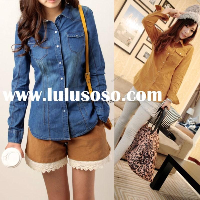 Autumn/Spring Casual Women's Long Sleeve Lapel Denim Shirt For Women Fashion Clothing Hot Se