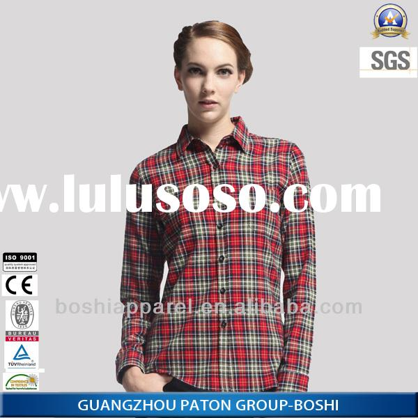 Boshi High Quality 100%Cotton Casual Plaid Shirts for Women in Factory Price