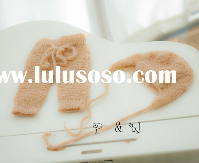 Knit baby pants and hat Newborn photo prop set mohair bonnet and pants Lace mohair hat pants Baby gi