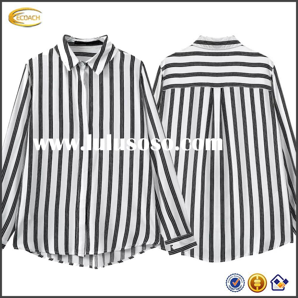 Long Sleeve Black White Vertical Striped images of ladies casual tops shirt for women