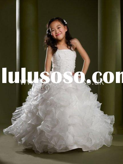 NEW ARRIVAL ! 2014 new fashion multi-layer white wedding dresses for children