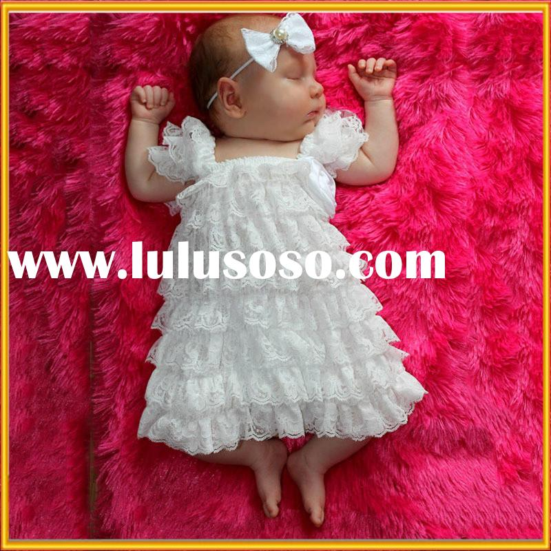 New arrival high quality girls dress cute design with lovely lace print newborn baby girls dress