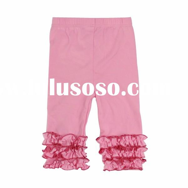 Newborn infant toddler capris or knee shorts&trousers kids children triple ruffle baby girls sol