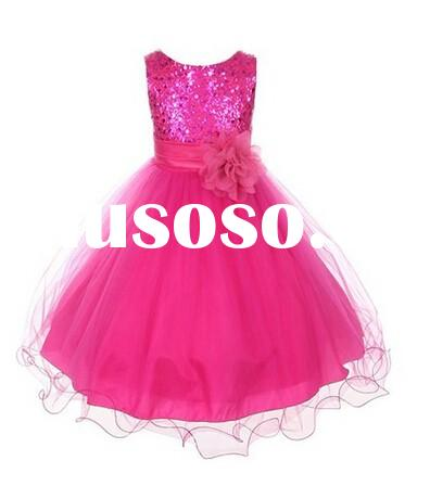 Pretty Rose Red princess Flower Girl Dress sequined girl Pageant Dress for Little Girls Kids/Childre