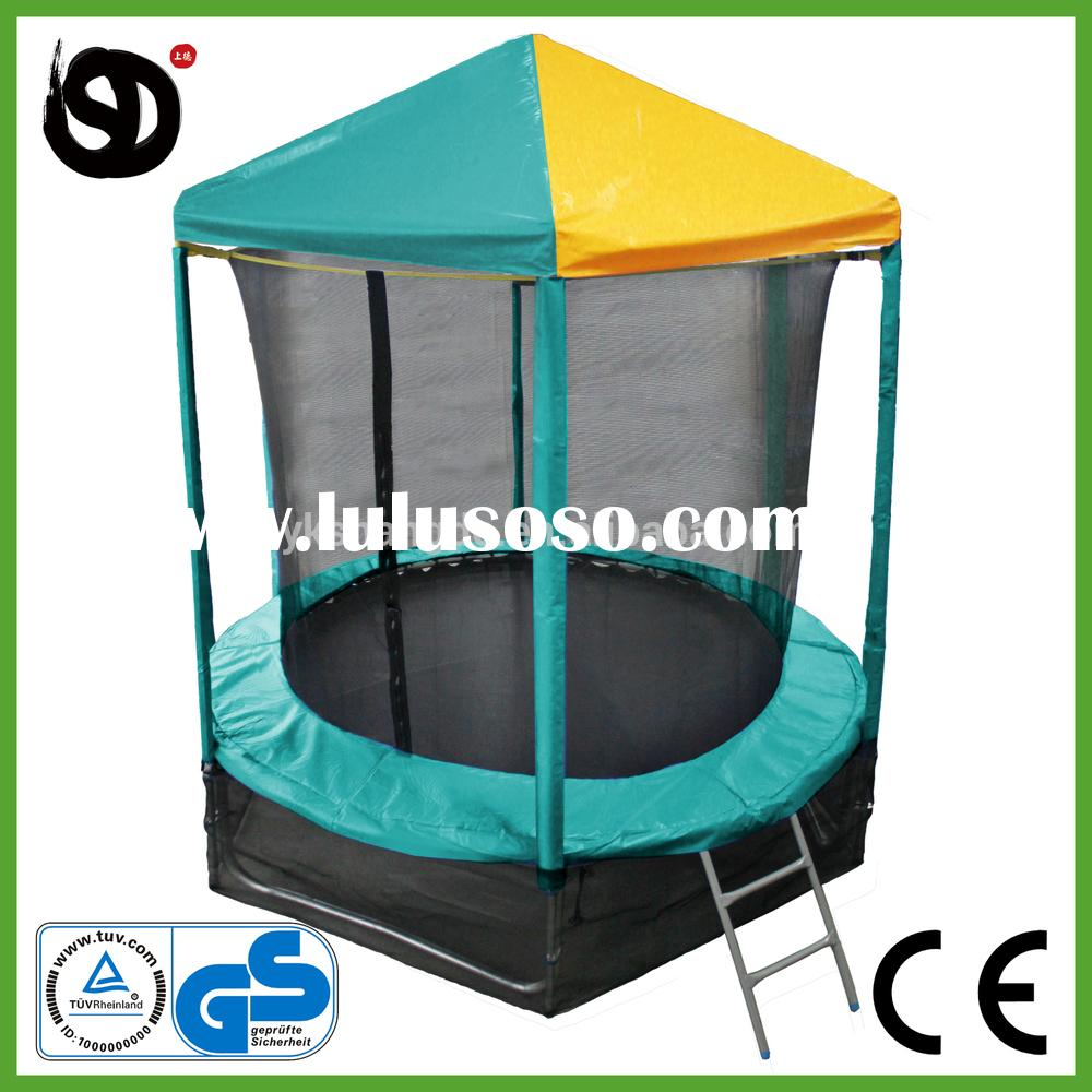 colorful outdoor discount trampoline with roof and safety net for funny games for kids for garden