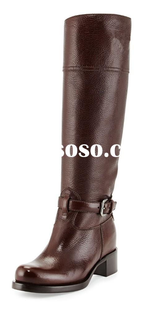 2015 latest style high quality brown leather low heel women knee high boots