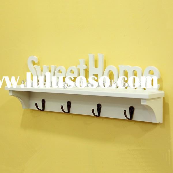 Decorative Wooden Wall Display Shelves with Hooks 470x85x160mm