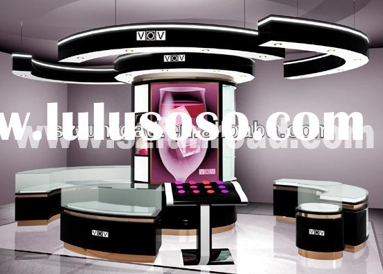 Funroad elegant cosmetic mdf and metal cosmetic retail store display case