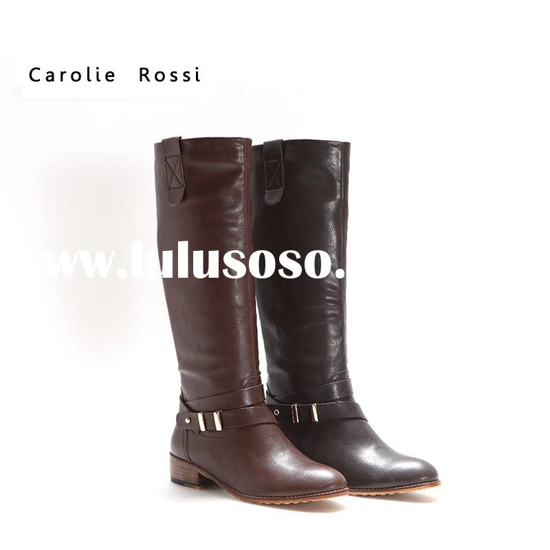 High quality china flat shoes knee high women leather boots