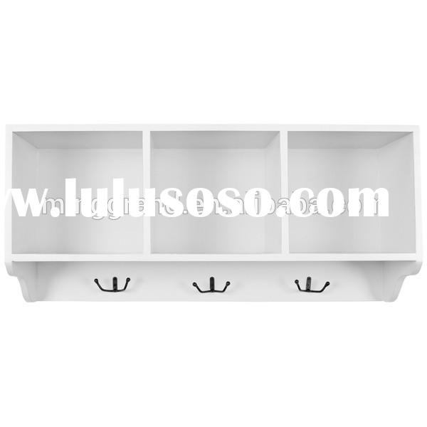 Hot Sale White Wall Shelf Painting Fir Wood Hook for Coat