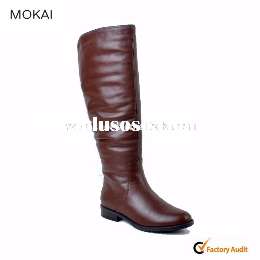 MK001-6 brown leather 2015 hot sell knee boot high quality women leather boot