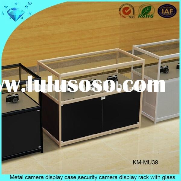 Metal camera display case,security camera display rack with glass