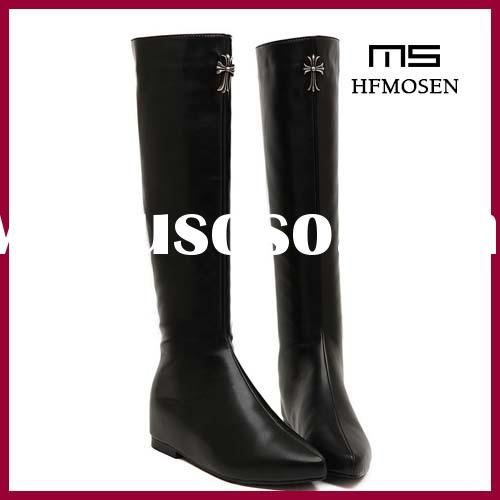 S2401 wholesale leather boots knee boots women's high tube boots