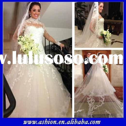 WE-2652 Elegant simple long sleeve high neck wedding dress with long veil