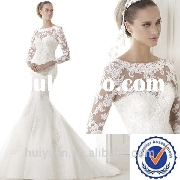 high neck long sleeve mermaid lace wedding dresses