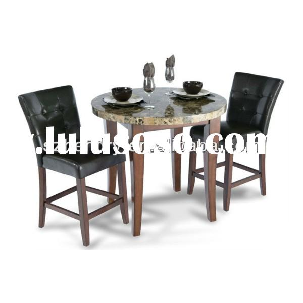 102708 Modern Dining Room Furniture/Round marble table top and wood chairs in leather