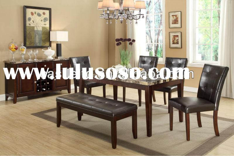 5 PC Marbled top dining table set,dining faux marble table/luxury dining table and chairs and dresse
