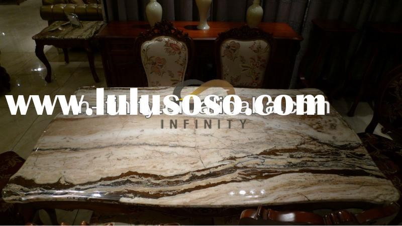 Classic Marble Top Dining Room Furniture Table Set