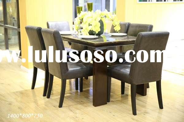 Dining table with marble top leather dining chair CZM006