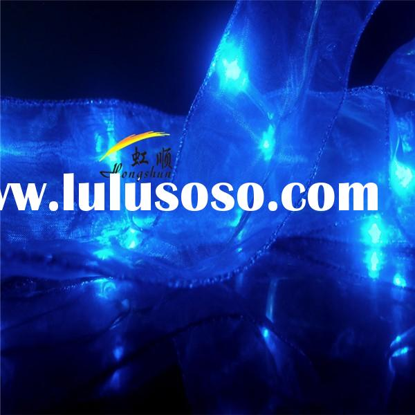 Hot sale Blue Battery Operated Organza Ribbon led christmas string light