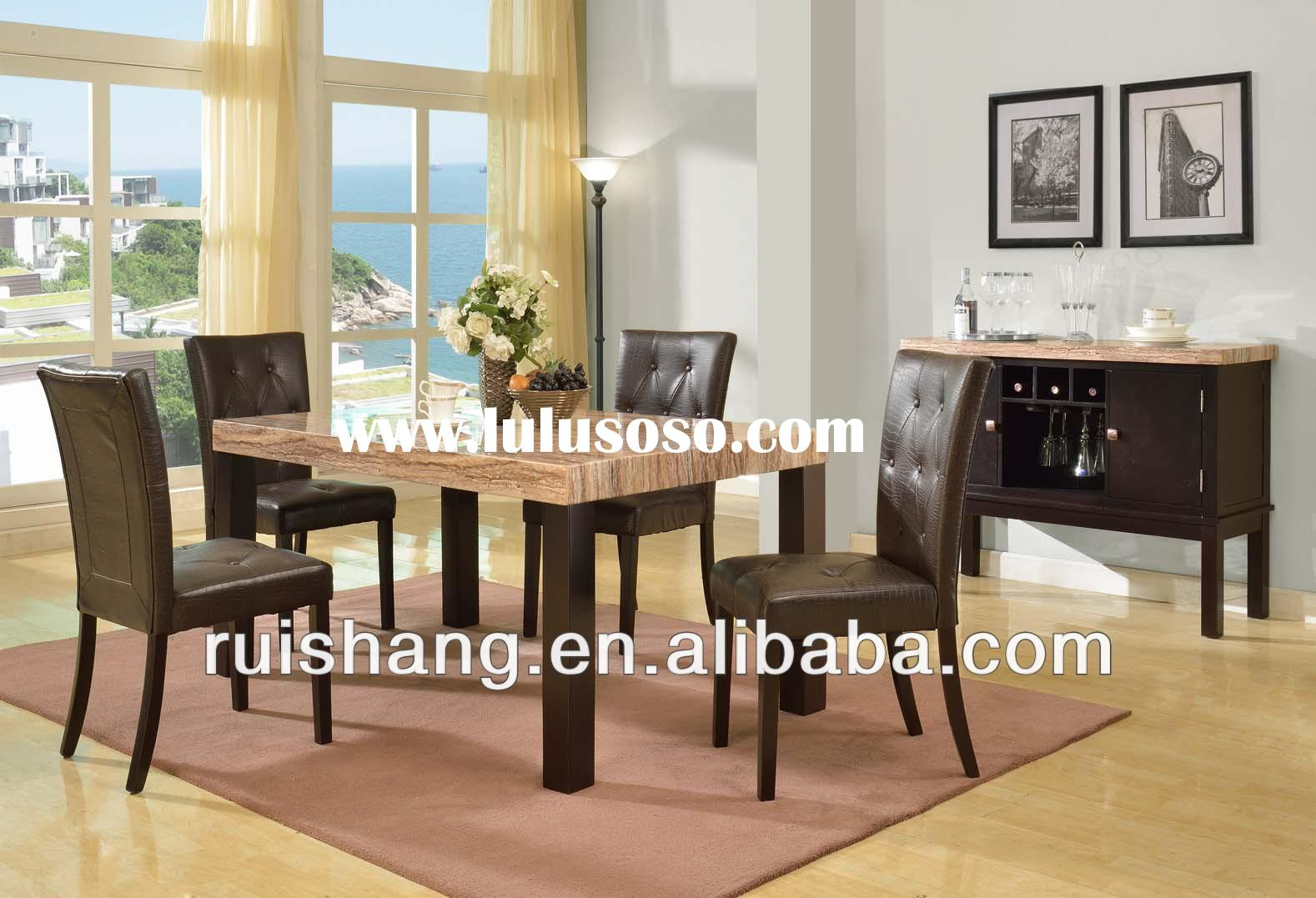 Promotiomnal solid wood dining table with faux marble top and 4pcs crocodile leather pattern dining
