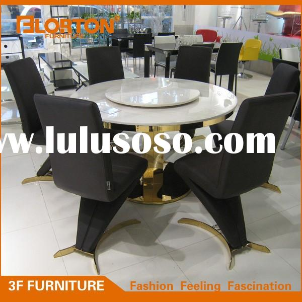 Sturdy marble top round stainless steel dining table with leather chairs