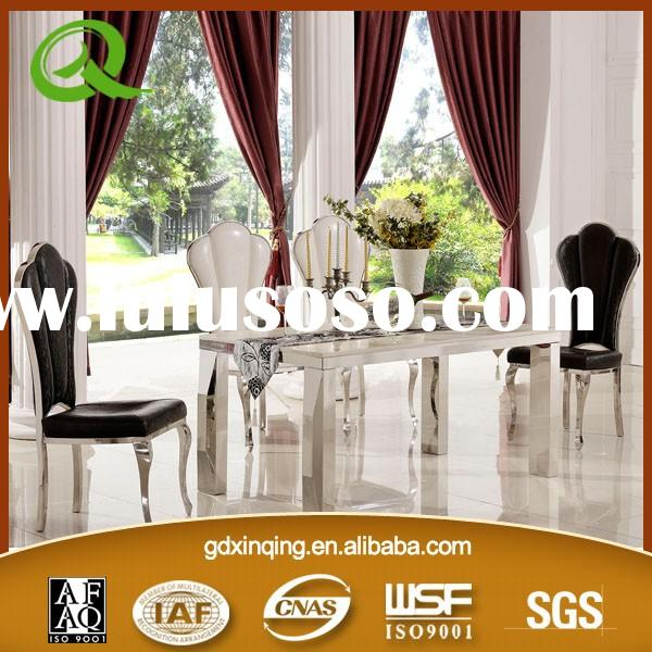TH377 Stainless steel dining room table set marble top dining table