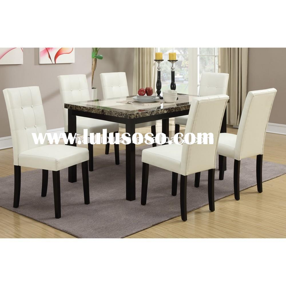 Unique marble top dining table and white leather cover chair XYN1477