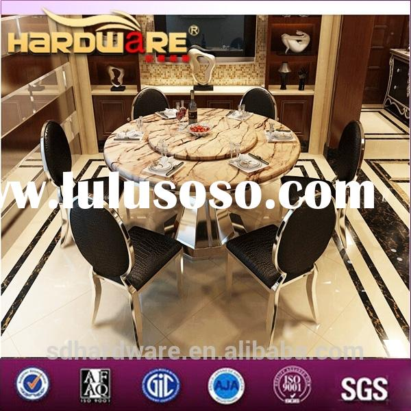 dining room stainless steel centre table with leather chair