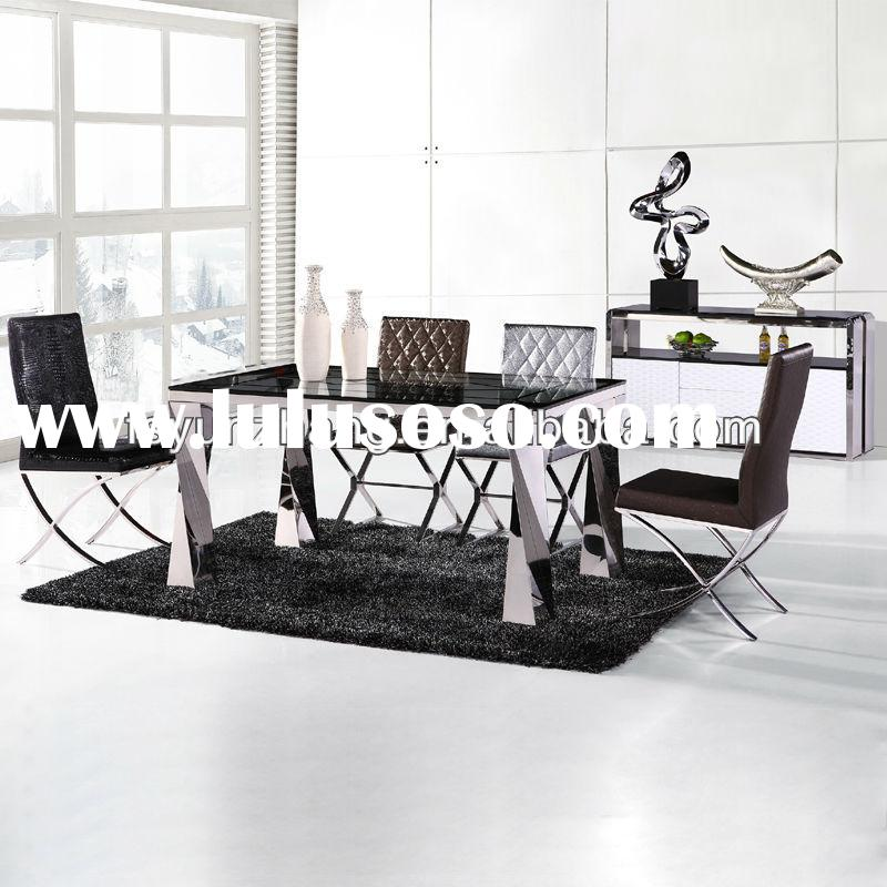 glass top dining table with leather chairs