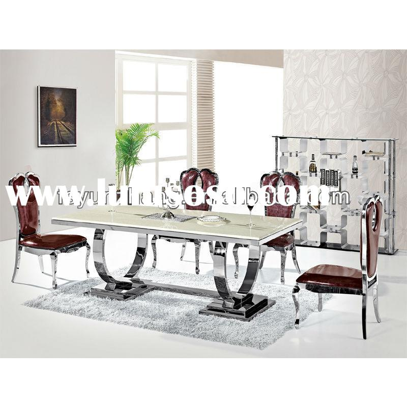 stainless steel dining table with leather chairs