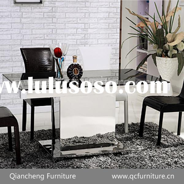 tempered glass dining set dining table and leather chairs