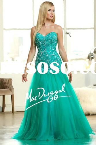 2015 Latest design women/girls dress for prom beaded sweetheart sleeveless princess ball gown prom d