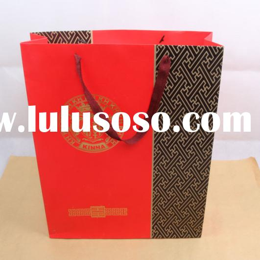 Customize Retail small colored paper gift bags with ribbon handles