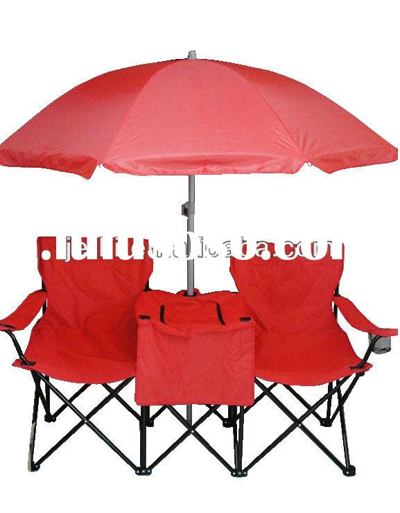 Double Cooler Camp Chair With Umbrella