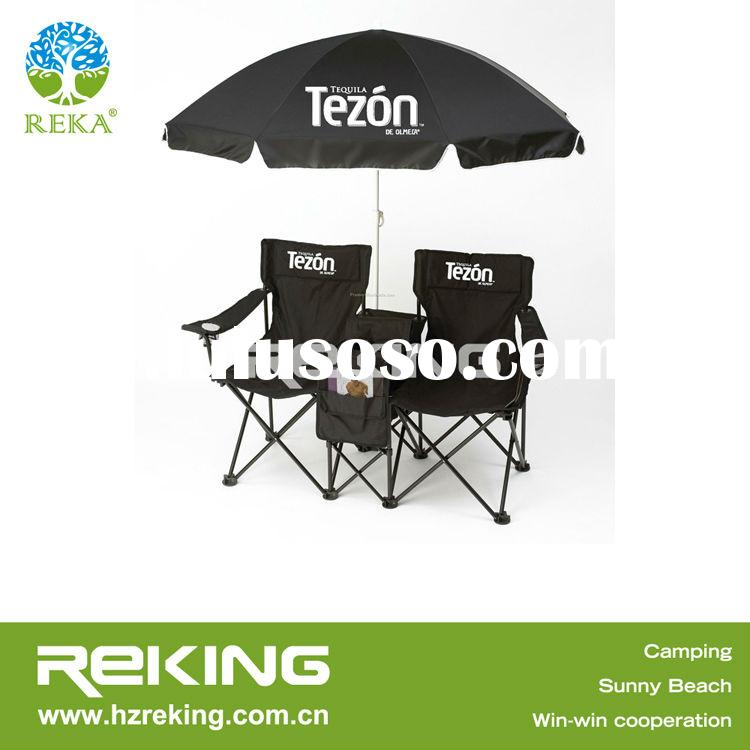 Fashionable folding double seat camping chair with umbrella