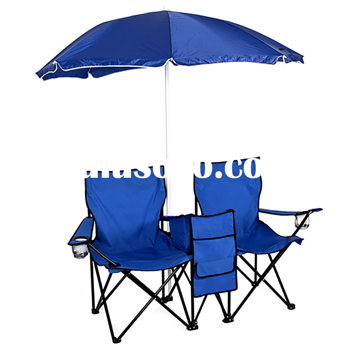 Picnic Double Folding Chair with Umbrella Table Cooler Fold Up Beach Camping Chair