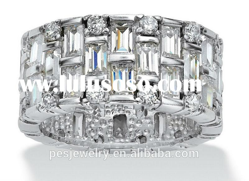 Rhodium plated 3A zircon 925 Sterling silver unique rings hot sell