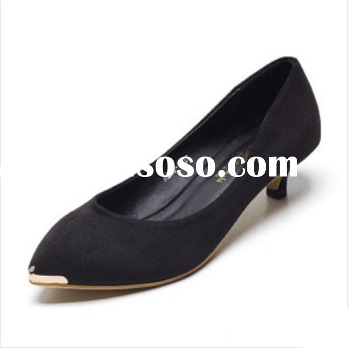 Slip on Low Heel Pointed Steel Toe Women Dress Shoes For Office & Career