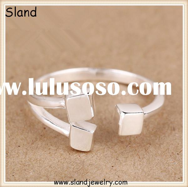 Unique design sterling silver rings 925 solid silver rings with cubes, elegant womens' rings