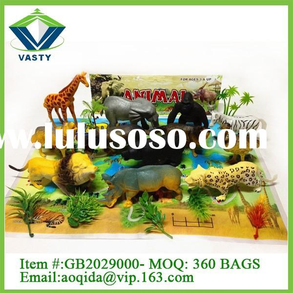 12 animals plastic zoo animal set toy