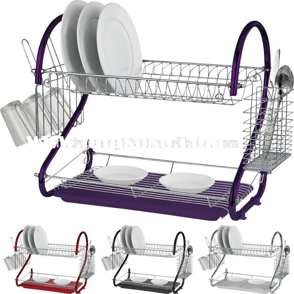 2 tier kitchen stainless steel dish drying rack
