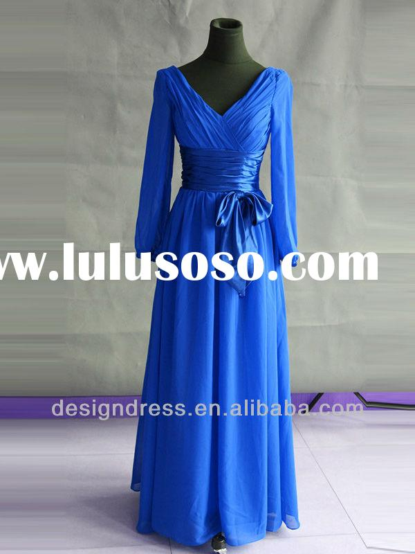 2013 Hot Sale Elegant Chiffon Royal Blue Long Casual Maxi Evening Dresses With Sleeves