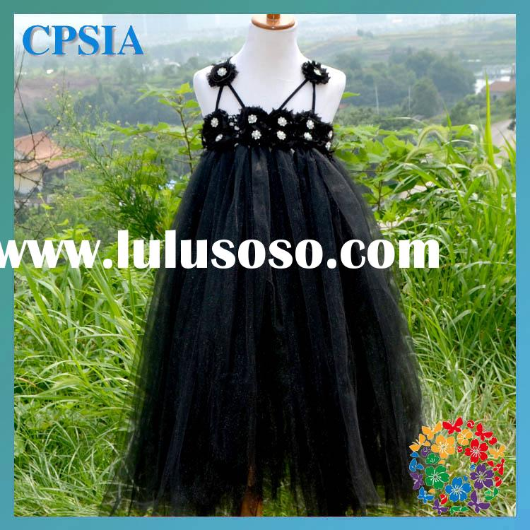 2 Layers Black and White Wedding Dress Baby Clothes Wholesale Price Summer Flower Girl Dresses