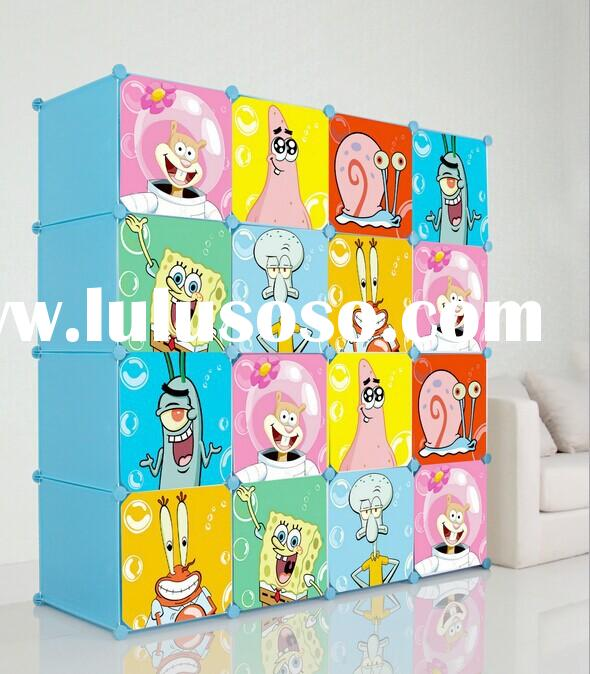 Best selling collapsible modern cartoon plastic storage wardrobe